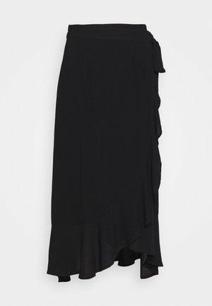 CRINKLE WRAP MIDI SKIRT - A-line skirt - black