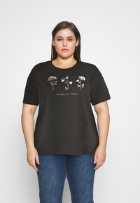 Even&Odd Curvy - HATTIE WILDFLOWERS NO RAIN TEE - T-shirts med print - anthracite - 0