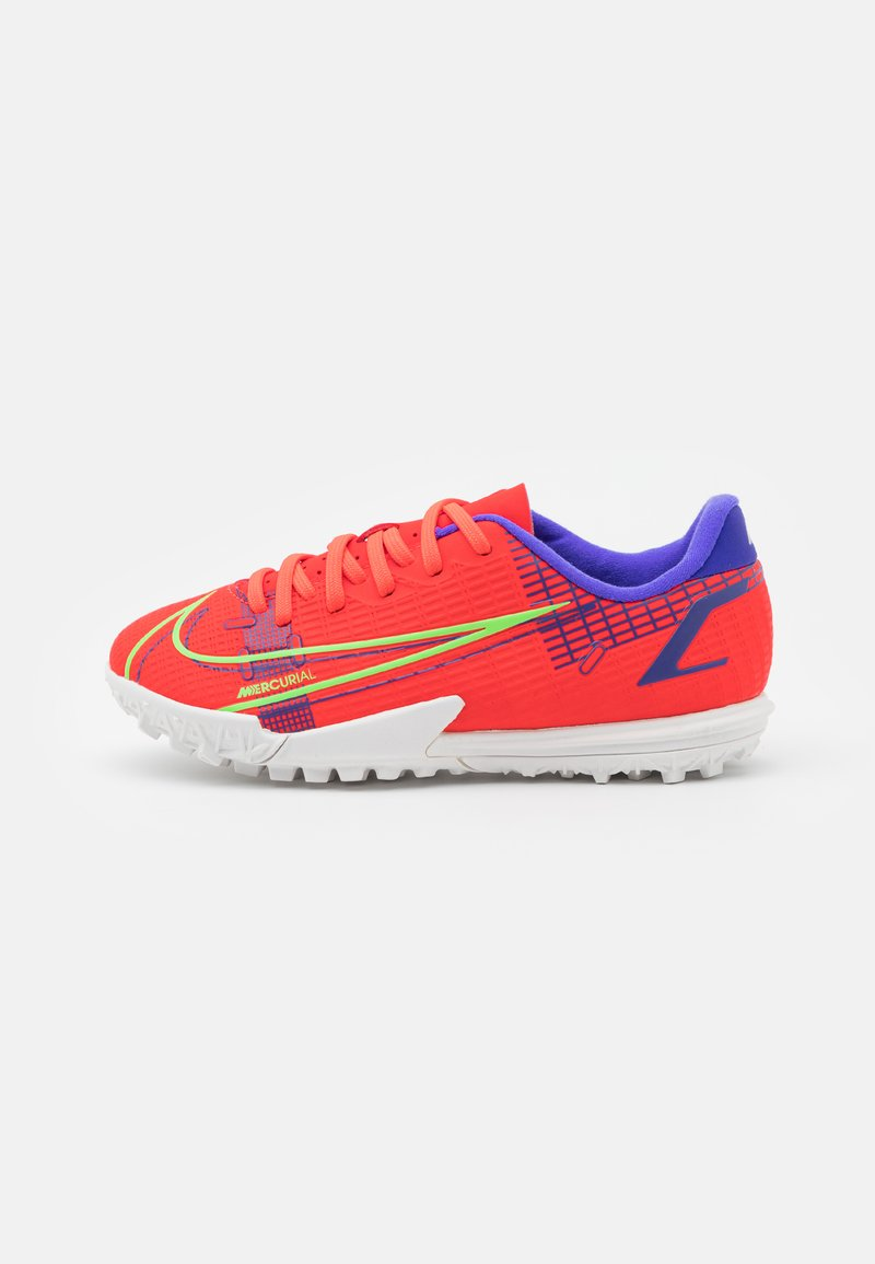Nike Performance - JR MERCURIAL VAPOR 14 ACADEMY TF UNISEX - Astro turf trainers - bright crimson/metallic silver