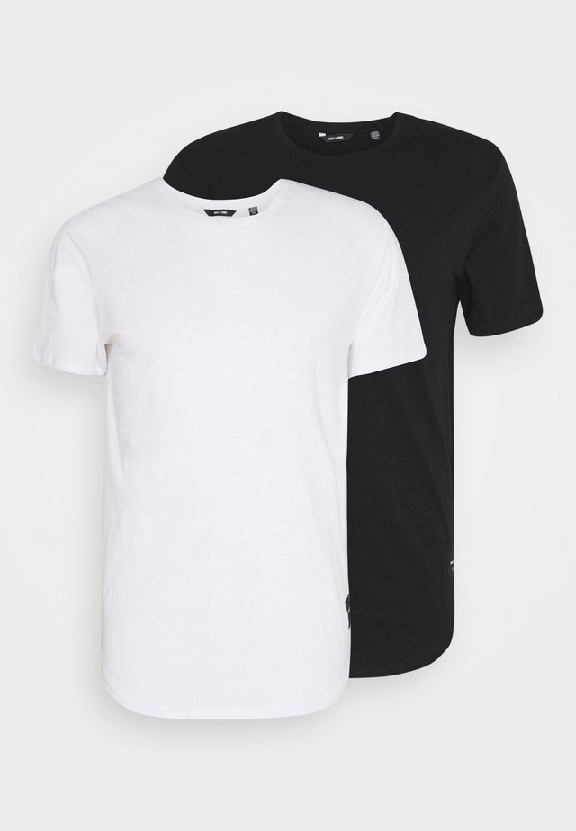 ONSMATT LONGY TEE 2 PACK - T-shirts - black/white
