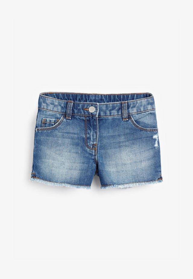 DARK BLUE FRAYED HEM SHORTS (3-16YRS) - Denim shorts - mottled dark blue