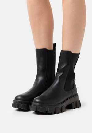 ELASTIC PROFILE BOOTS - Platåstøvletter - black