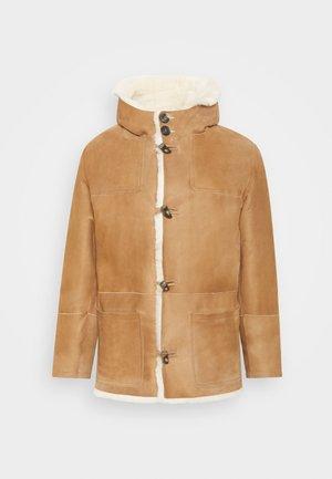 DUFFLE COAT JANIS - Leather jacket - camel/off white