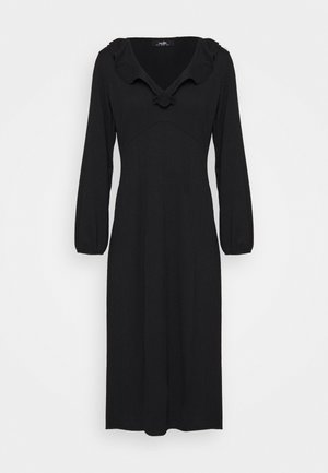 SOFT FRILL MIDI DRESS - Day dress - black