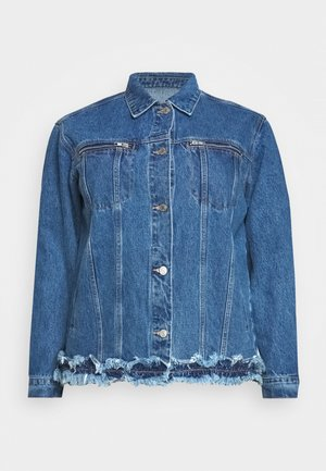 FRAYED ZIP POCKET JACKET - Denim jacket - denim blue