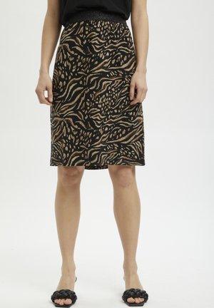 BPLIANA  - A-line skirt - black / brown animal print