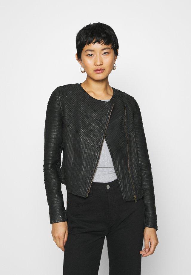 IRA JACKET - Leather jacket - black