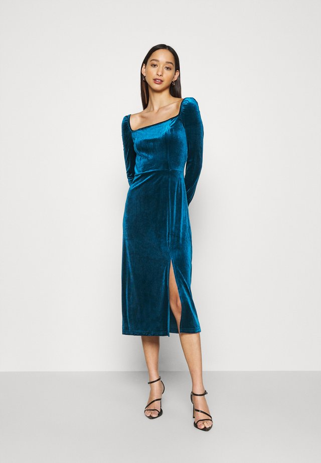MIDI DRESS WITH LONG SLEEVES SQUARE NECK AND FRONT SIDE SPLIT - Sukienka letnia - dark blue