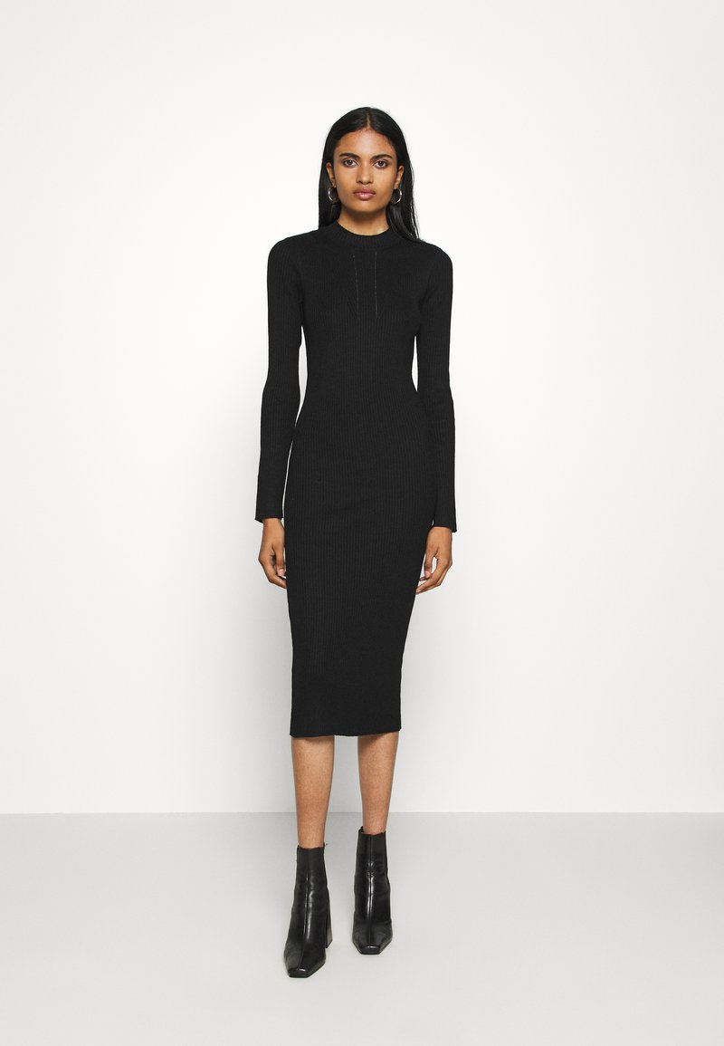 Vila - VIKNITTA DRESS - Strikket kjole - black