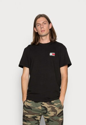WASHED TOMMY BADGE TEE - Print T-shirt - black