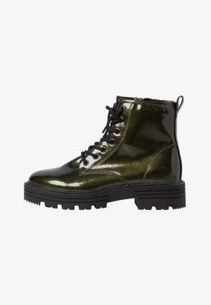 Platform ankle boots - khaki patent