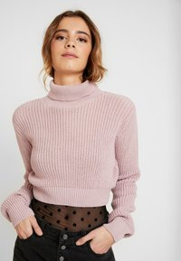 Glamorous - CROP ROLL NECK - Sweter - dusty pink - 3