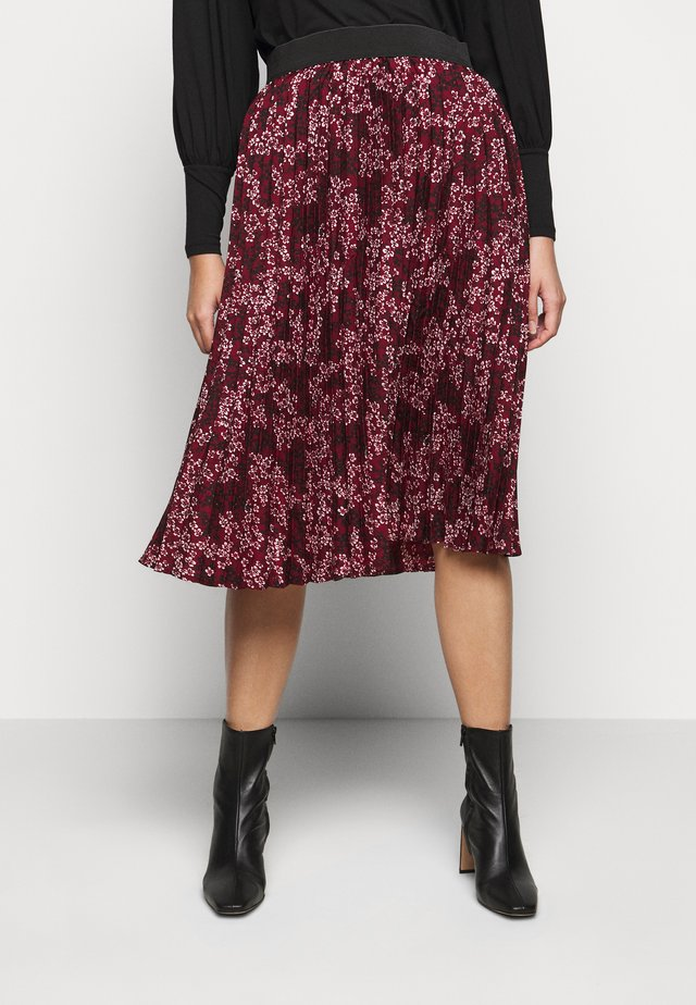 FLORAL PLEAT MIDI SKIRT - Jupe trapèze - berry