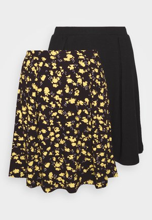 2 PACK - Falda acampanada - black/yellow