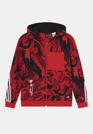 HOOD UNISEX - Sweat à capuche zippé - vivid red/black/white
