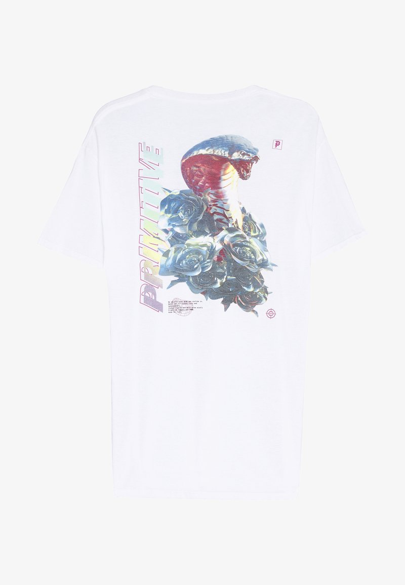 Primitive - WARNING TEE - Triko s potiskem - white