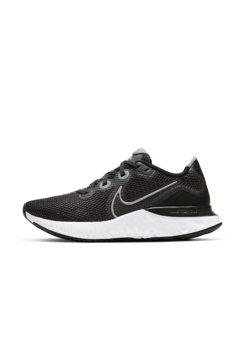 Nike Performance - RENEW RUN - Neutral running shoes - black/white/dark smoke grey/metallic silver