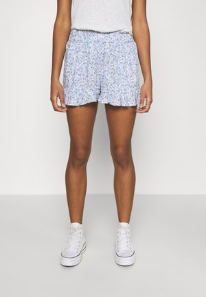 CHAIN RUFFLE HEM - Shorts - white/blue