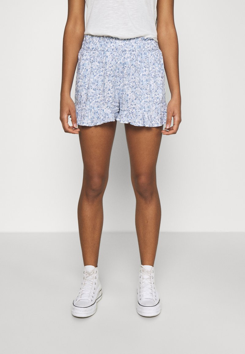 Hollister Co. - CHAIN RUFFLE HEM - Shorts - white/blue