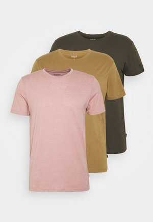 SHORT SLEEVE CREW 3 PACK - Basic T-shirt - stone/dark green/pink