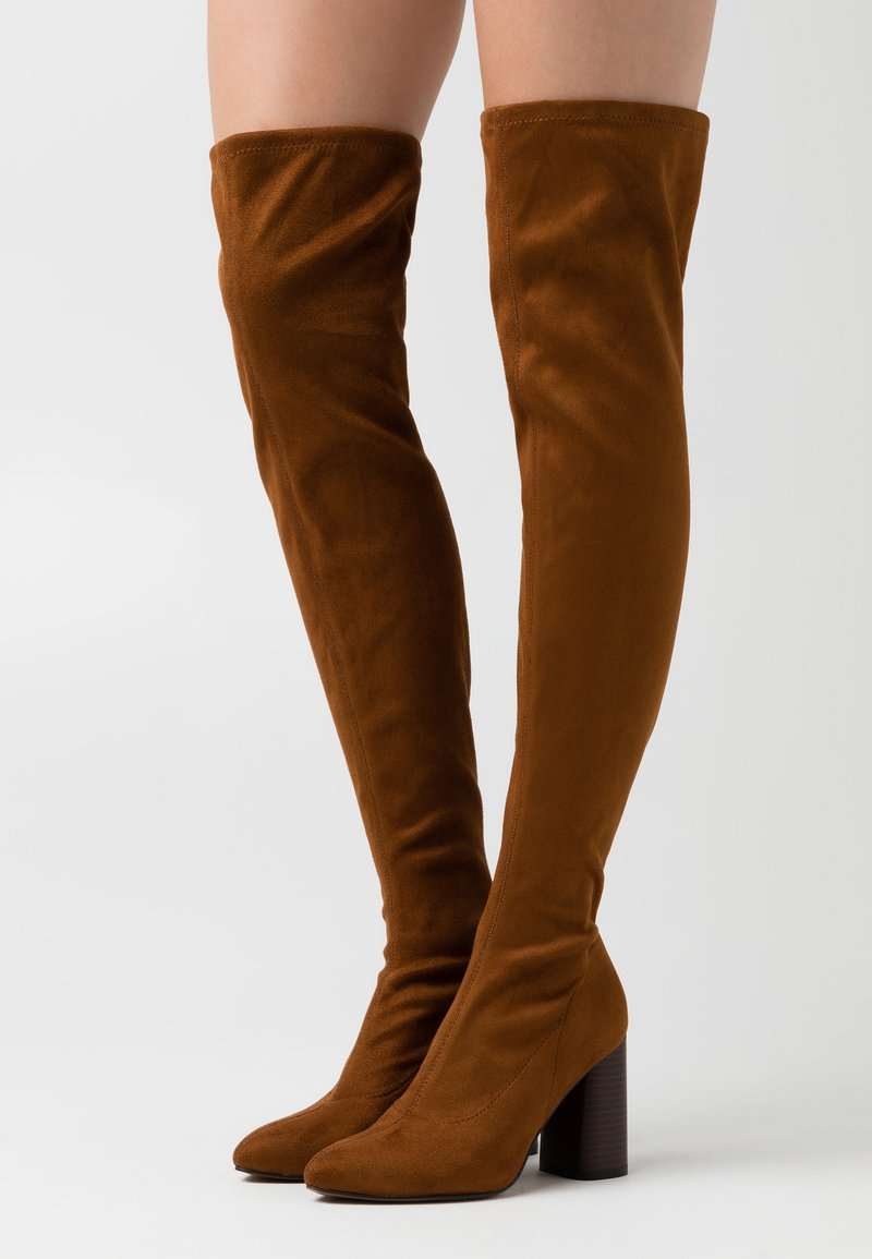 ONLY SHOES - ONLBRODIE LIFE STACKED BOOT  - Kozačky nad kolena - cognac