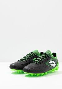 Lotto - STADIO 100 II FG - Botas de fútbol con tacos - all black/all white/spring green - 2