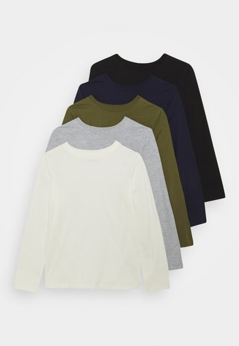 5 PACK - Langarmshirt - white/light grey/dark blue/black/green
