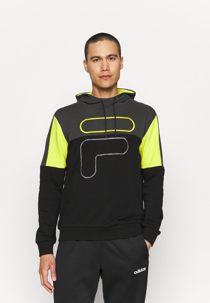 Fila - PARSOM BLOCKED HOODY - Sweatshirt - black/asphalt/sulphur spring