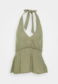 American Eagle - SMOCKED WAISTBAND HALTER - Camicetta - olive - 0