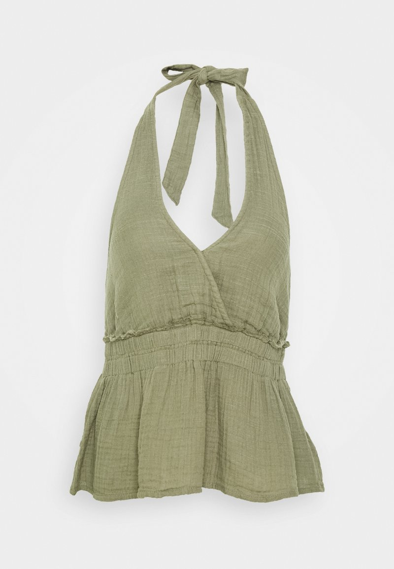 American Eagle - SMOCKED WAISTBAND HALTER - Camicetta - olive