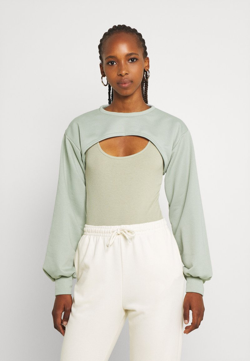 Missguided - CUT OUT OVERLAY BODYSUIT SET - T-shirt con stampa - sage