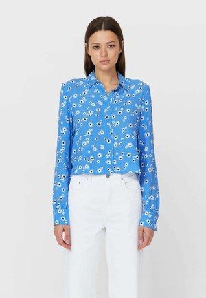 Button-down blouse - mottled blue