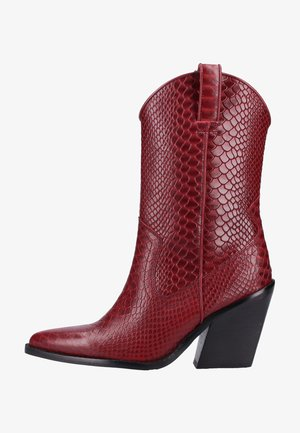 High heeled ankle boots - wine
