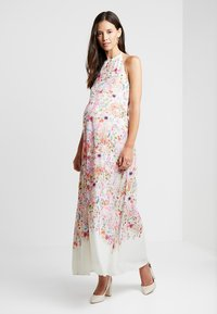 True Violet Maternity - HI NECK MAXI TRAPEZE DRESS - Maxi šaty - cream border