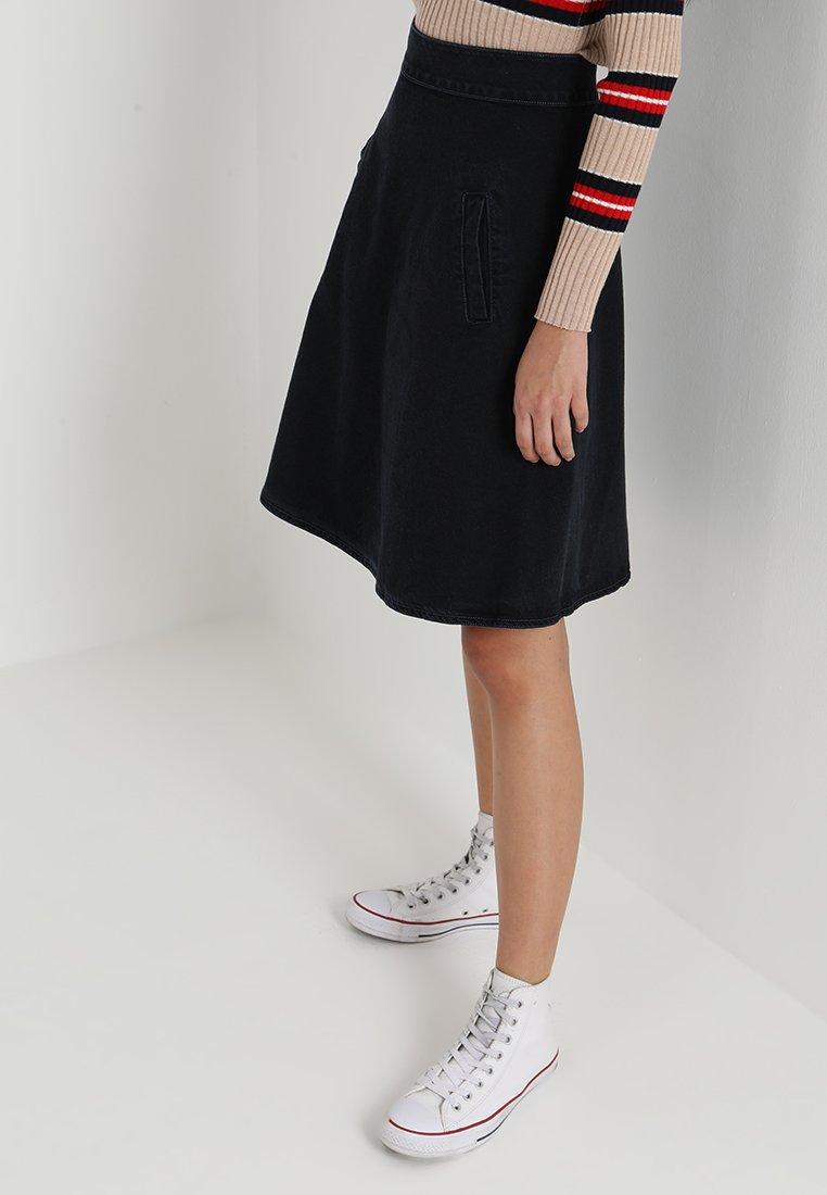 Mads Nørgaard - STELLY - A-line skirt - blue/black