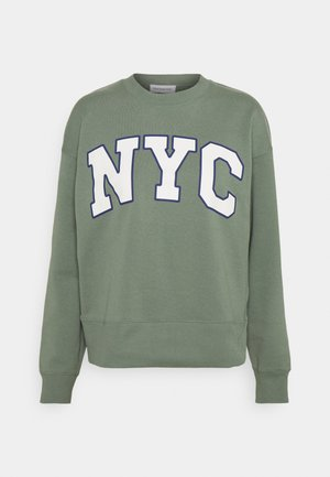 NYC College Print Loose Sweatshirt - Sweatshirt - green