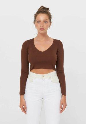 MIT V-AUSSCHNITT  - Long sleeved top - dark brown