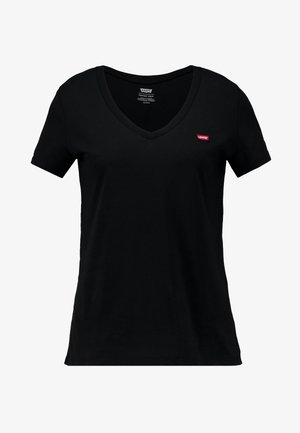 PERFECT V NECK - T-shirt z nadrukiem - caviar