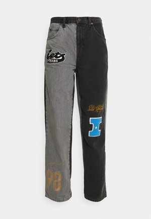 IF SPLICED VARSITY PATCH BOYFRIEND - Jeans relaxed fit - black