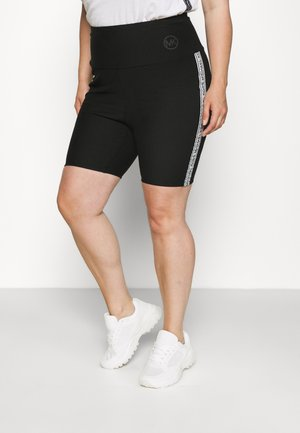 LOGO TAPE BIKER SHORT - Shorts - black