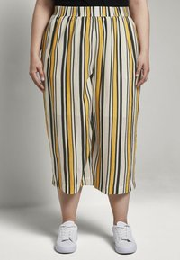MY TRUE ME TOM TAILOR - CULOTTE CRINKLE LOOK - Trousers - black yellow stripe - 0