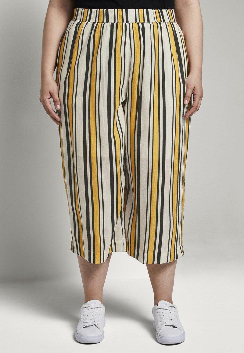 MY TRUE ME TOM TAILOR - CULOTTE CRINKLE LOOK - Trousers - black yellow stripe
