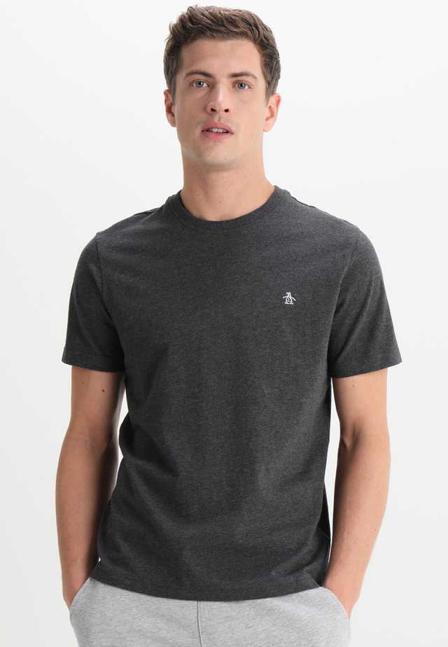 EMBROIDRED LOGO TEE - T-shirt - bas - dark charcoal heather