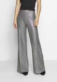Club L London - TEXTURED SPARKLE HIGH WAIST TROUSERS - Trousers - silver - 0