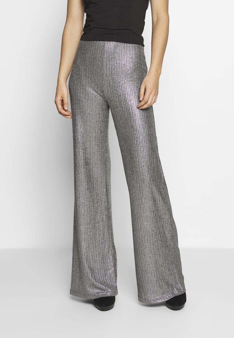 Club L London - TEXTURED SPARKLE HIGH WAIST TROUSERS - Trousers - silver