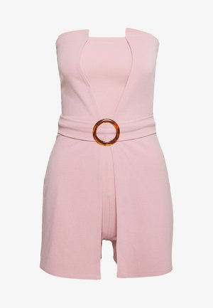 BANDEAU BELTED PLAYSUIT - Mono - pink