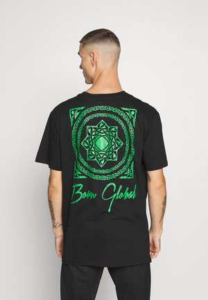 T-shirt con stampa - black/kelly green