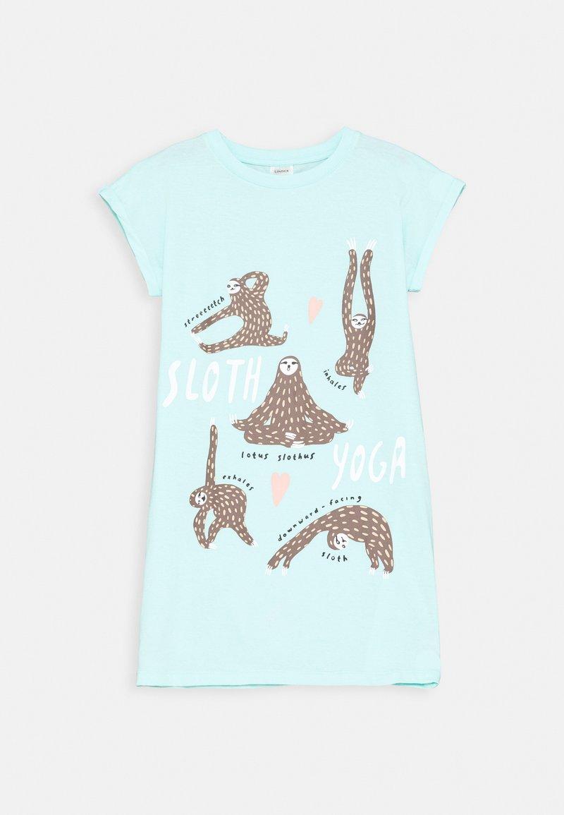 Lindex - TEEN NIGHTGOWN PLACED YOGA SLOTH - Noční košile - light aqua