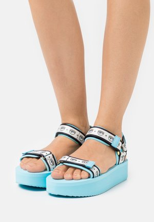 LOGOMANIA - Platform sandals - turquoise