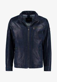 DNR Jackets - MIT REISSVERSCHLUSS - Leather jacket - dark blue - 0